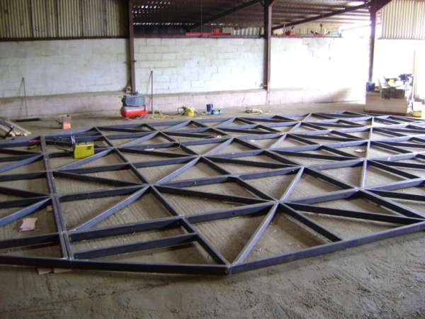 The Ark steel framework Stage 1 of the build process in the workshop
