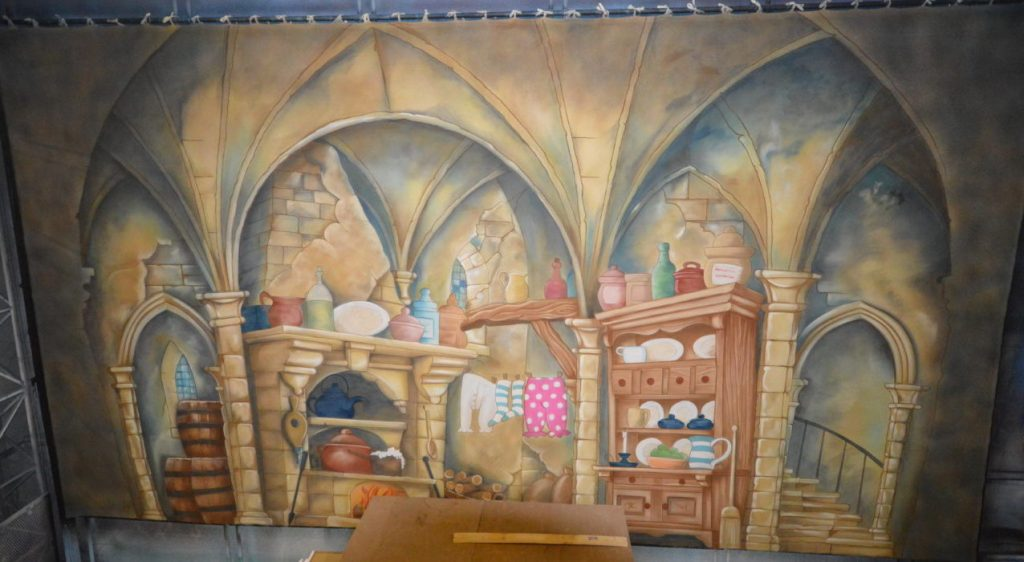 Designed by Alex McPherson, kitchen cloth for DSH Beauty and the Beast pantomime set for hire