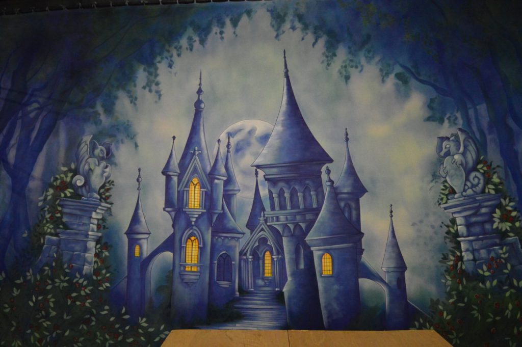 Designed by Alex McPherson the Beast's castle exterior DSH Beauty and the Beast pantomime set