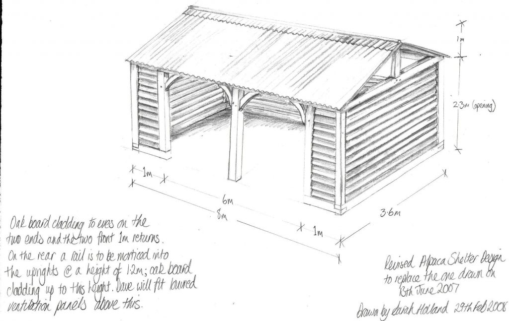 Original design for Green Oak Shelter