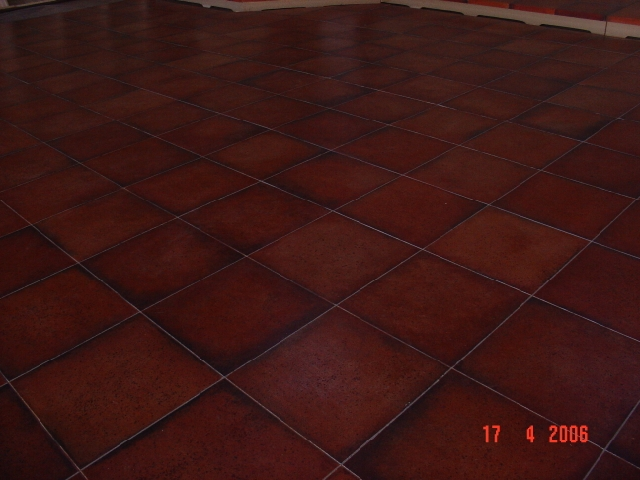 Terracotta floor painted by Sarah for Dangerous Obsession