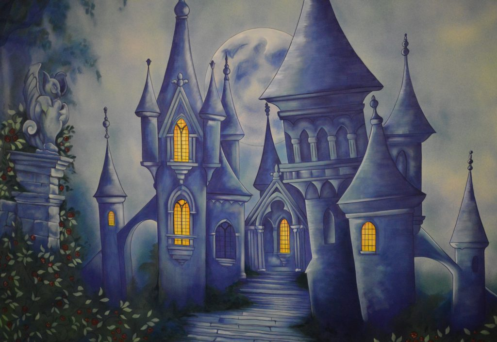 DSH Beauty and the Beast pantomime Castle Garden cloth