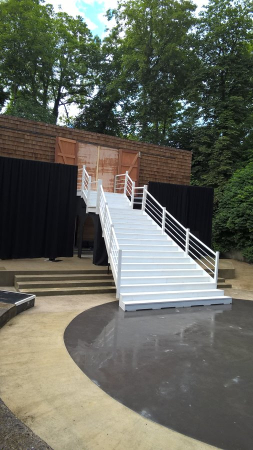Steel engineered staircase installed by DSH into Bradfield College open air theatre