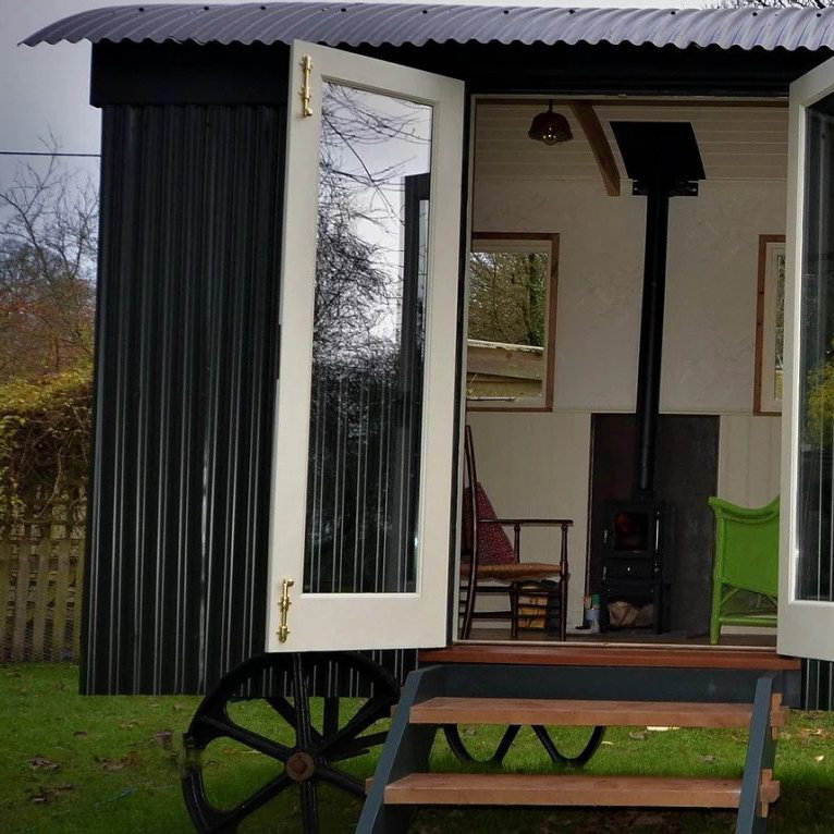 Shepherd Hut Exterior Doors and hobbit stove