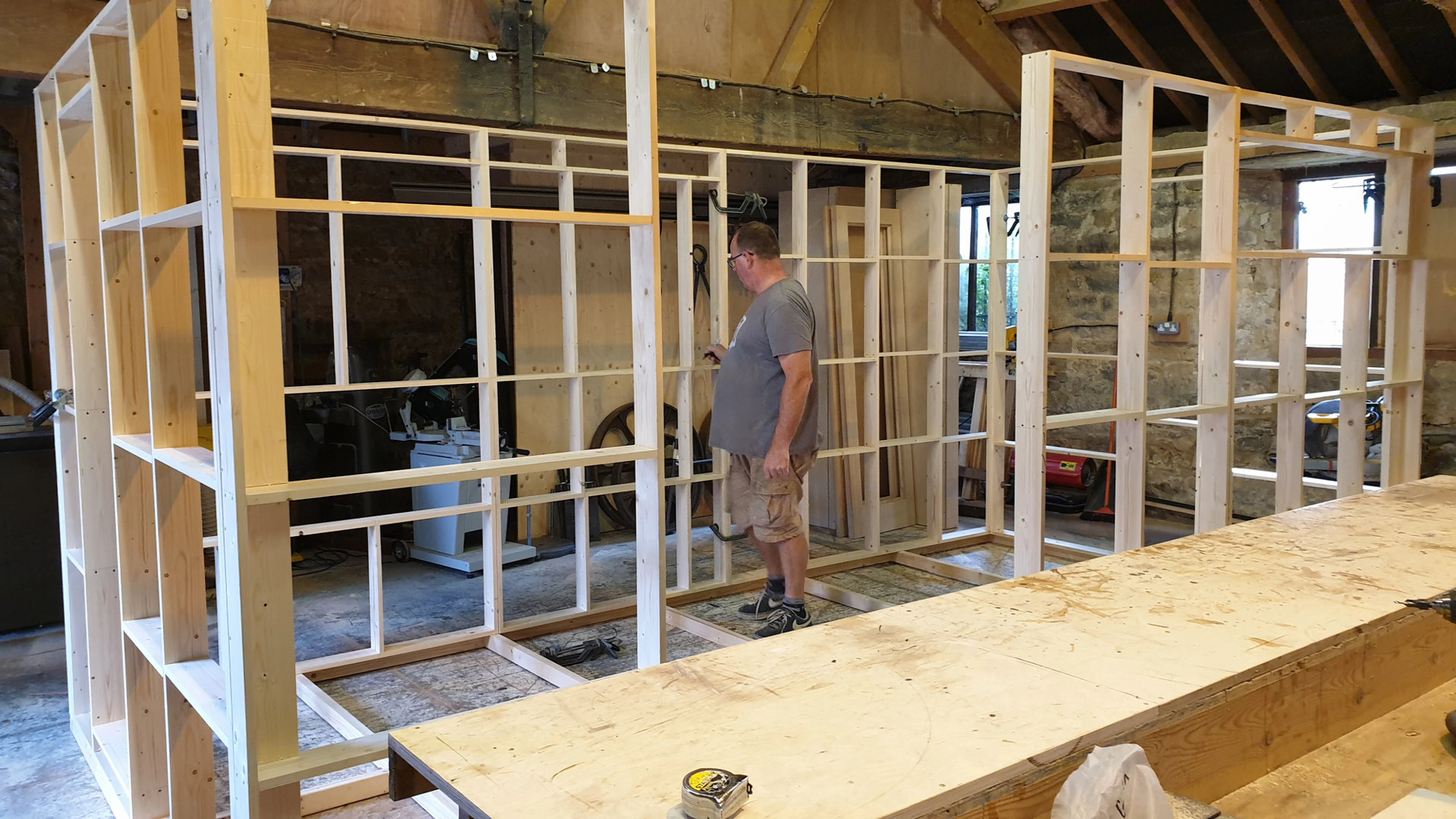 David Holland in the DSH workshop building the shepherd hut