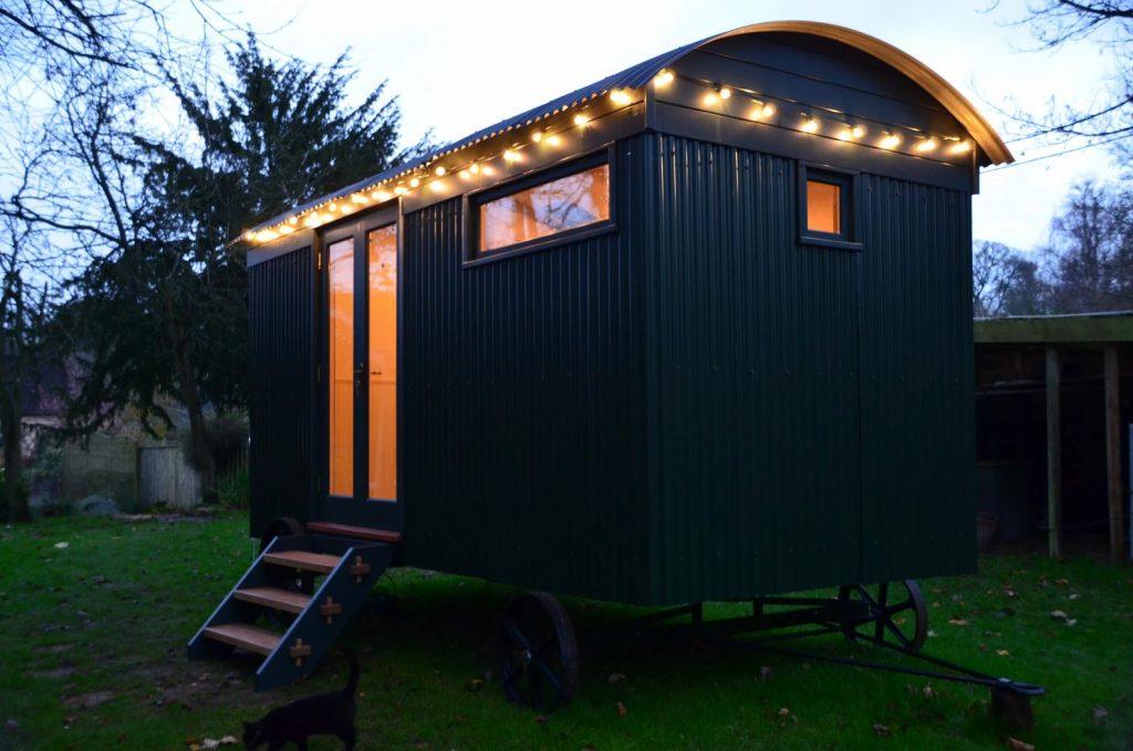 Shepherd Hut Exterior garden office retreat.