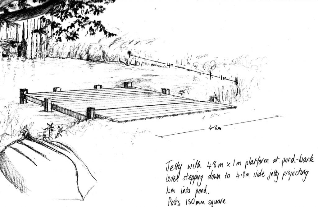 Jetty Sketch rendition of the DSH designed green oak jetty