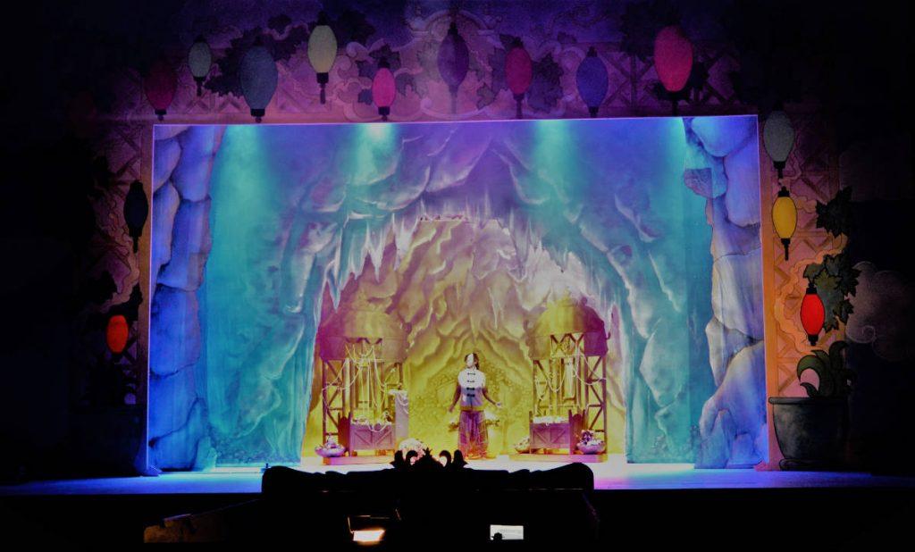 DSH Aladdin Set 2 cave interior cloths and treasure trucks. Pantomime set for hire.
