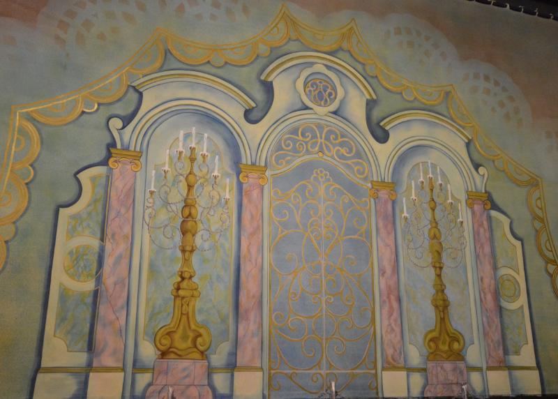 Cinderella set 2 Walkdown back cloth on the paint frame. DSH Cloth & Set Painting