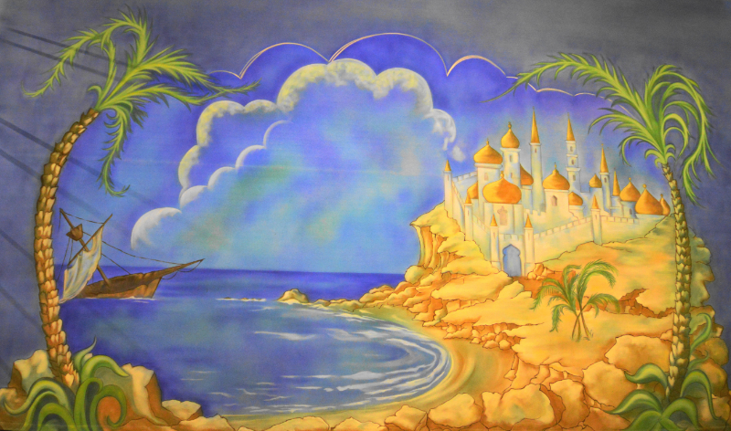 Dick Whittington set 2 The Moroccan Shore cloth on the paint frame. DSH Cloth & Set Painting