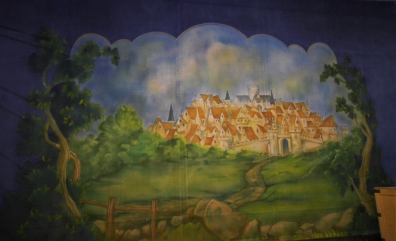 """Dick Whittington set 2 2on the way to london"""" front gauze on the paint frame. DSH Cloth & Set Painting"""