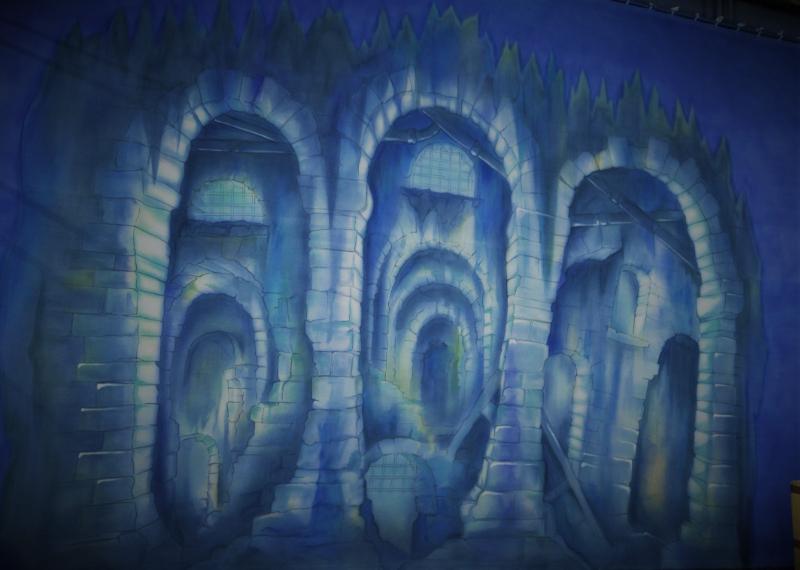 Dick Whittington set 2 King Rat's Sewer cloth on the paint frame. DSH Cloth & Set Painting