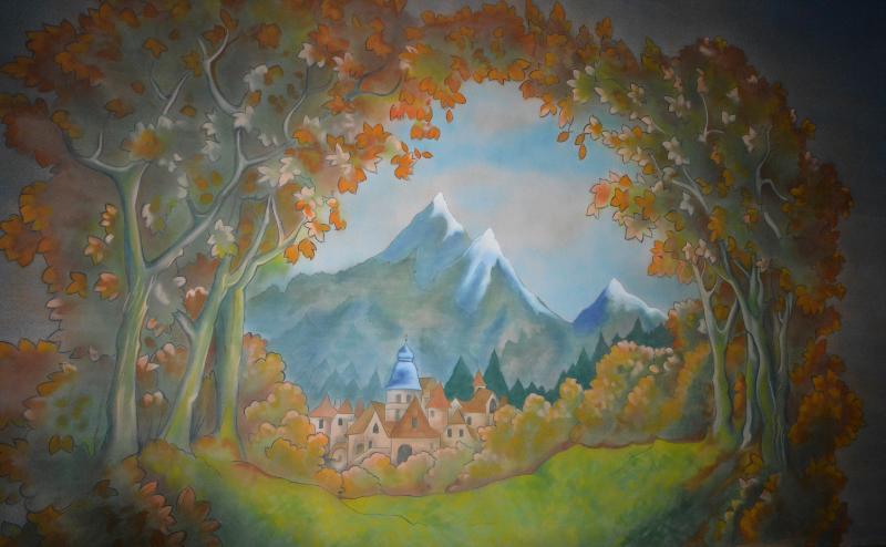 Cinderella set 2 woodland cloth on the paint frame. DSH Cloth & Set Painting