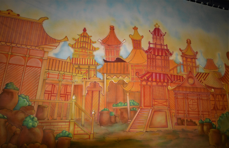Aladdin set 2 Peking Town front cloth on the paint frame. DSH Cloth & Set Painting