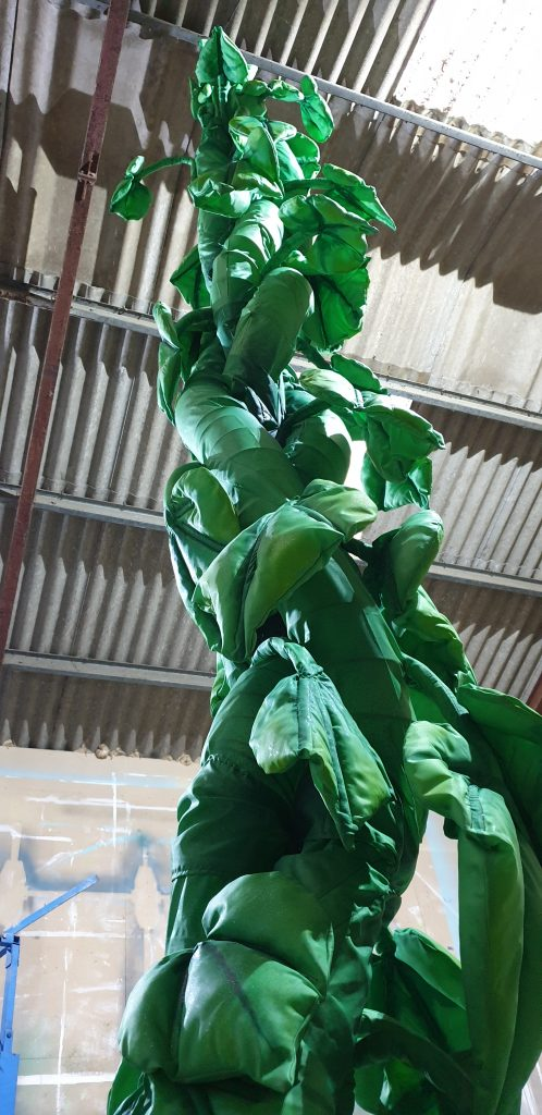 DSH growing beanstalk prop for Jack and the beanstalk pantomime set and effects for hire