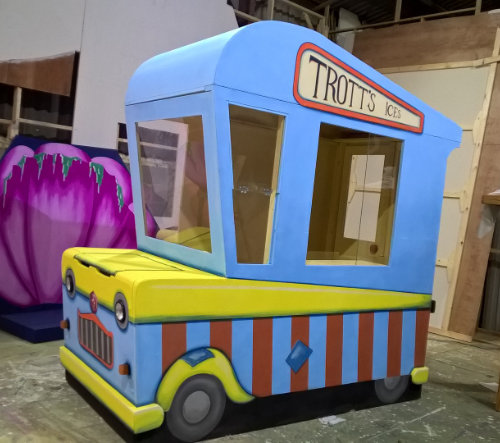DSH props and effects Dame Trott's comedy Ice-cream van truck. slapstick scene from Jack and the Beanstalk.