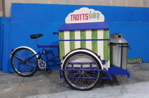 DSH props and effects. Dame Trott's Dairy tricycle. Jack and the Beanstalk.