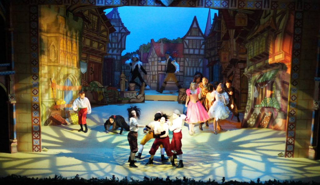 Dick Whittington set 1 London town scene. DSH Pantomime set for hire.