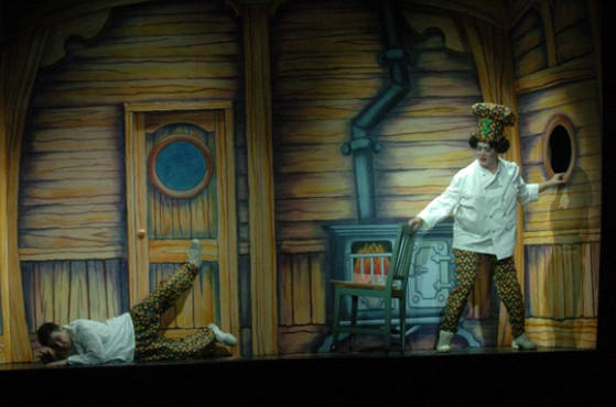 Rocking Galley. Dick Whittington ship wreck scene. Tilting scenery. DSH pantomime set for hire.
