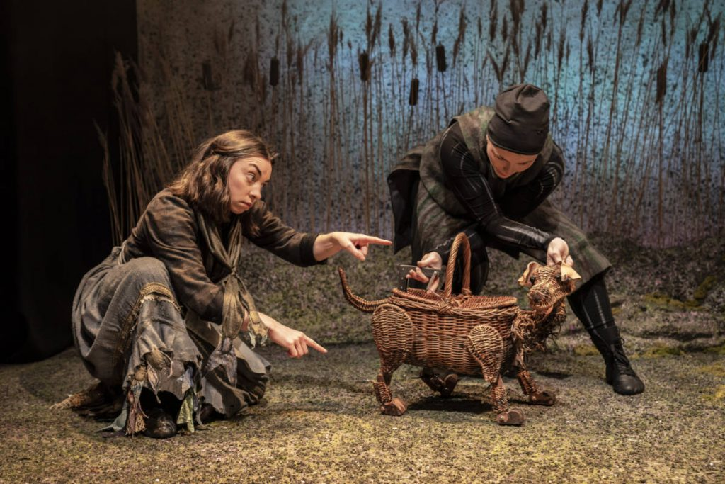 The Wicker Husband - Textured floor cloth and wicker puppet. DSH scenery construction designed by Anna Kelsey for the Watermill theatre.
