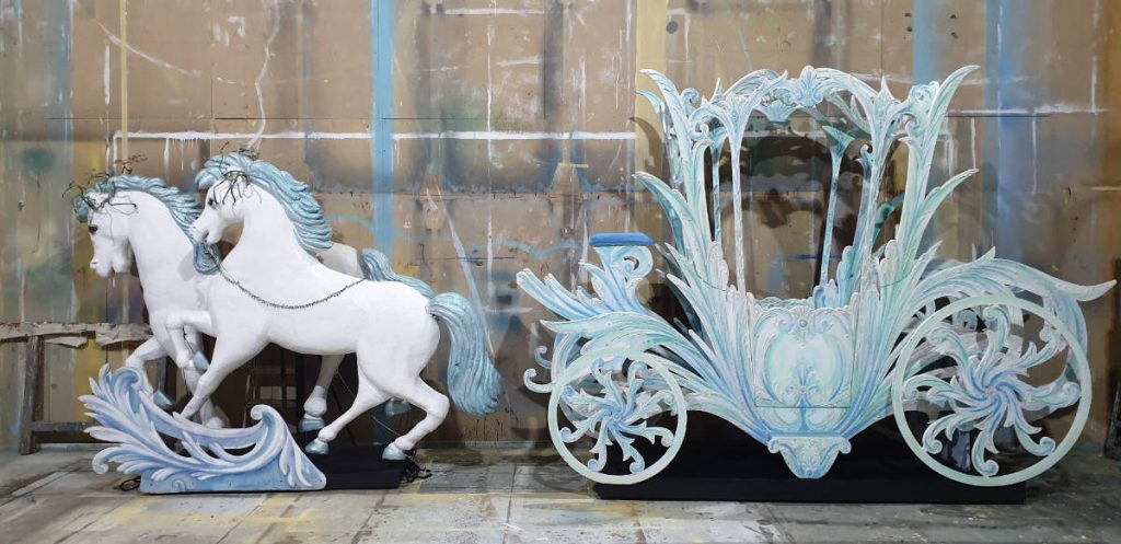 Cinderella coach on a truck for hire with a pantomime set. Beautiful ice blue and white design by John Elvery