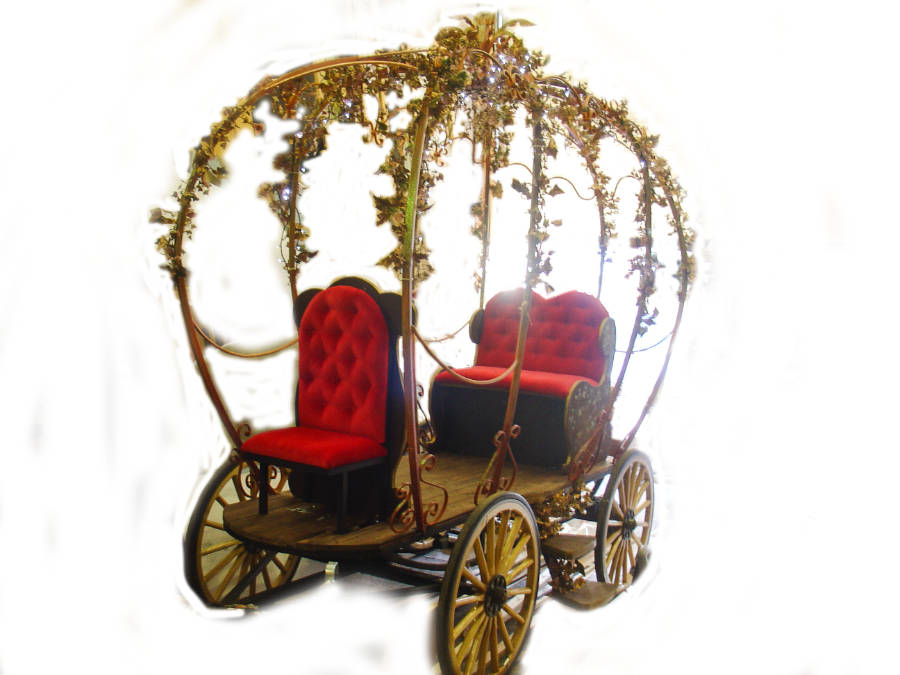 Horse drawn Cinderella coach for hire with pantomime scenery
