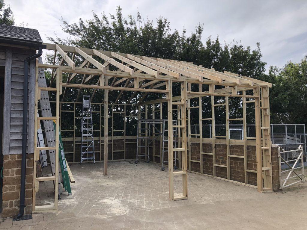 The open barn mid construction.